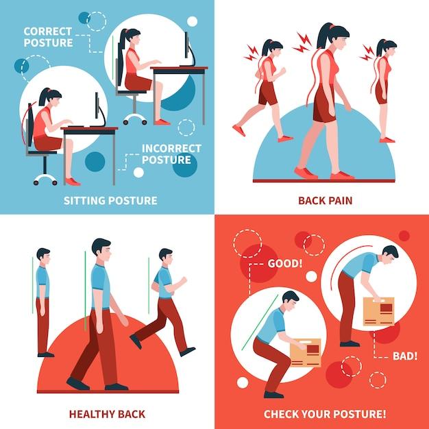 Set di concept design postura 2x2 Vettore gratuito