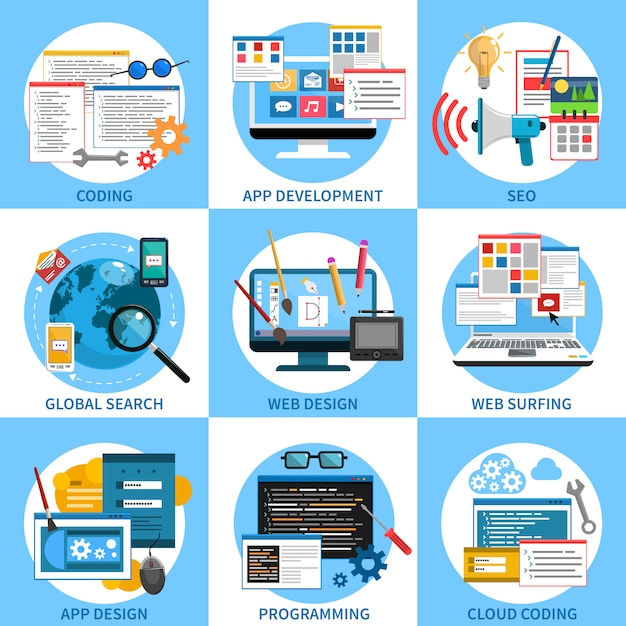 Set di concetti di sviluppo web Vettore gratuito