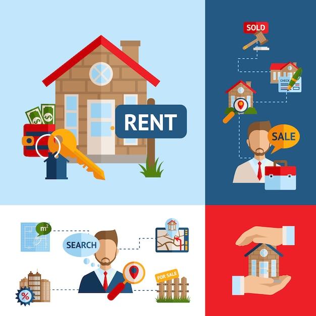 Set di concetti immobiliari Vettore Premium