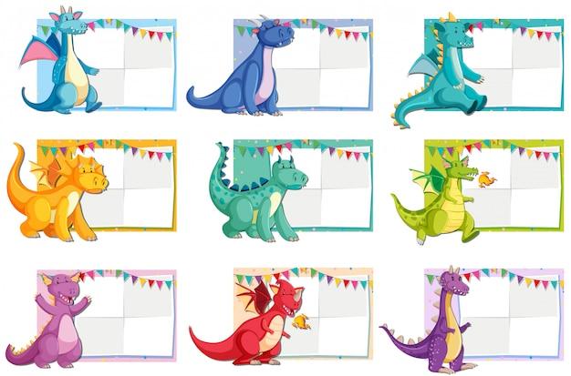 Set di concetto di carta di dinosauro Vettore gratuito