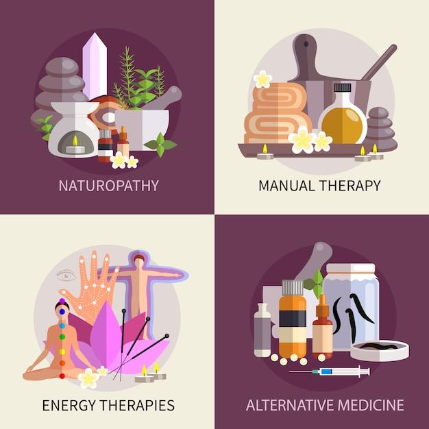 Set di concetto di design di medicina alternativa Vettore gratuito