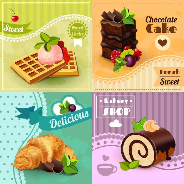 Set di concetto di panetteria Vettore gratuito