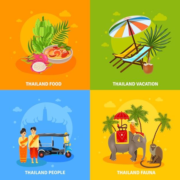 Set di concetto di thailandia Vettore gratuito