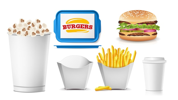 Set di confezioni vuote fast food Vettore Premium