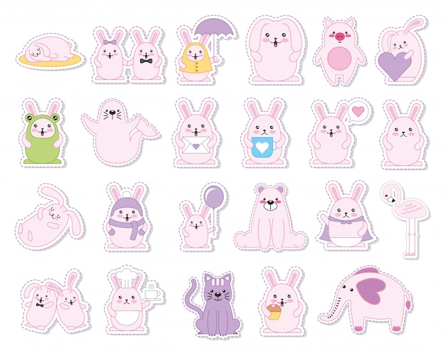Set di conigli e animali personaggi kawaii Vettore gratuito