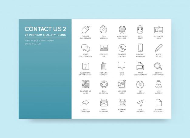 Set di contattaci icone di servizio assistenza supporto Vettore Premium