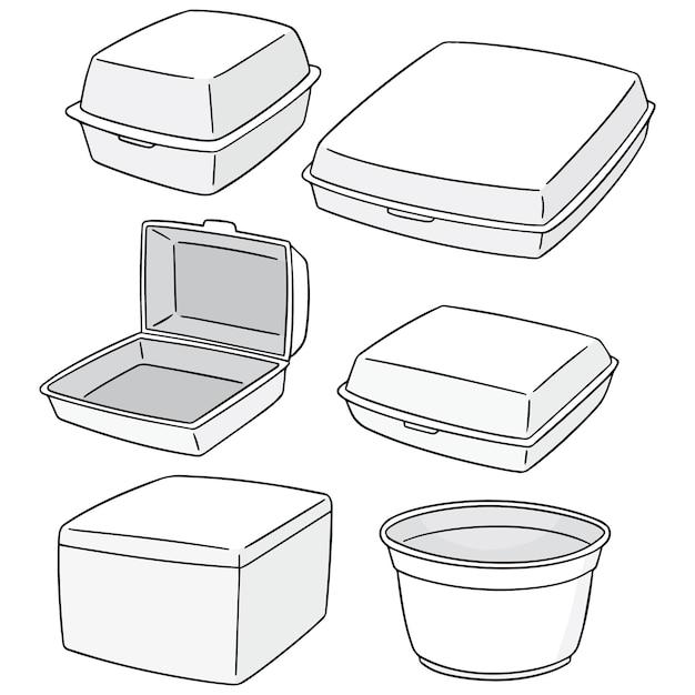 Set di contenitore di schiuma Vettore Premium