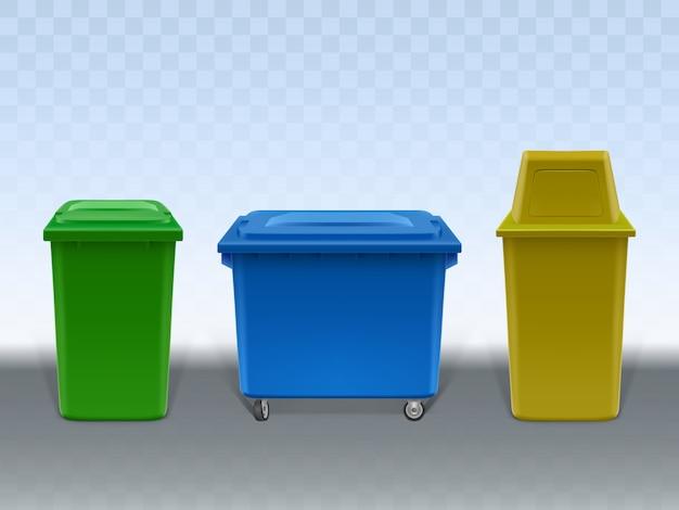 Set di contenitori dell'immondizia isolato su sfondo trasparente. Vettore gratuito