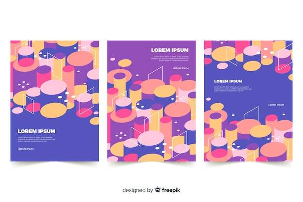 Set di copertine con design cilindrico Vettore gratuito