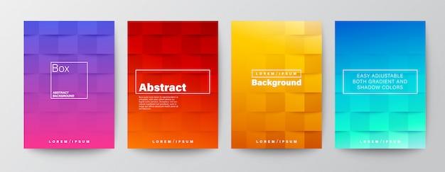 Set di copertine di sfondo quadrato su colorato colore rosso, viola, giallo, blu sfumato Vettore Premium