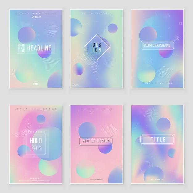 Set di copertura offuscata ologramma sfondo di lamina olografica iridescente astratta offuscata Vettore Premium