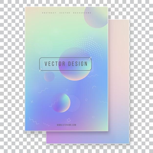 Set di copertura olografica moderno futuristico. stile retrò anni '90, '80. holographic geometrico grafico stile hipster. Vettore Premium