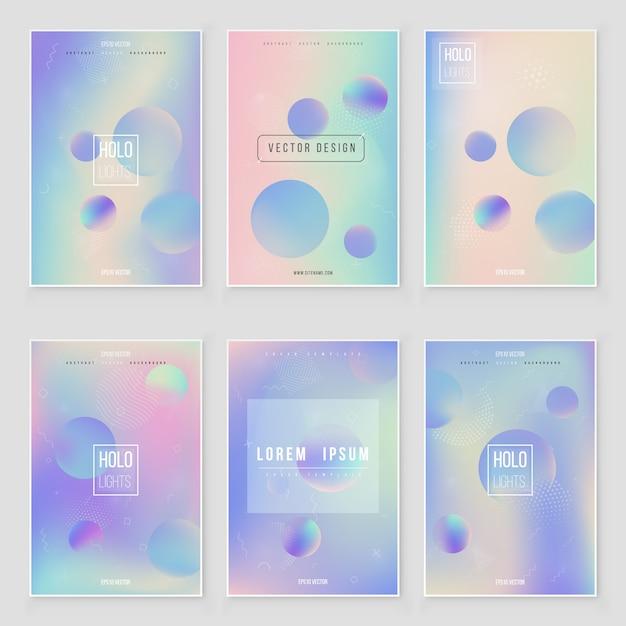 Set di copertura olografica moderno futuristico. stile retrò anni '90, '80. Vettore Premium