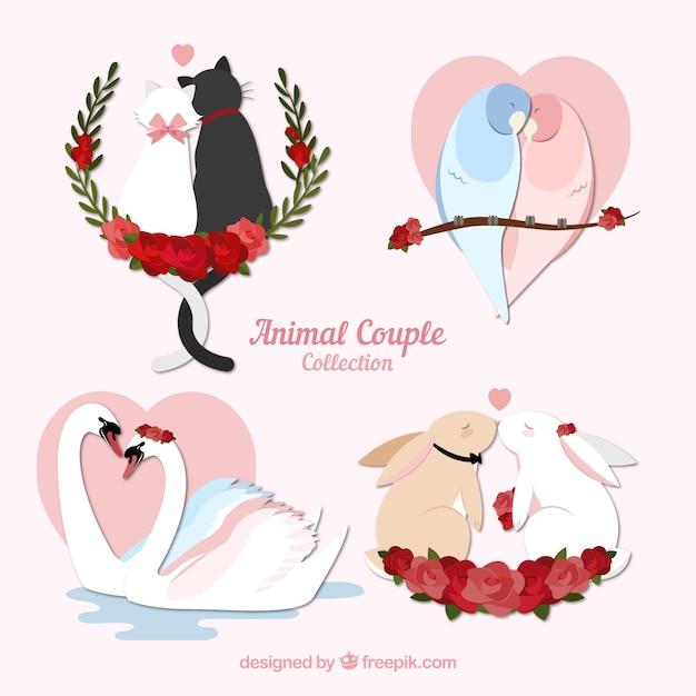 Set di coppia animale di san valentino Vettore gratuito