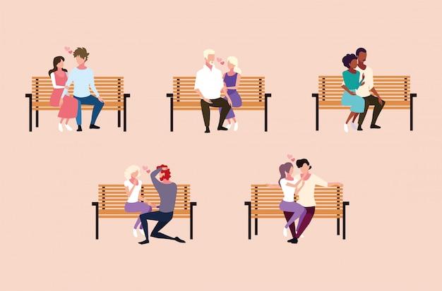 Set di coppie seduti nella sedia del parco Vettore Premium
