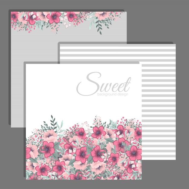 Set di cornice floreale con fiori colorati. Vettore gratuito