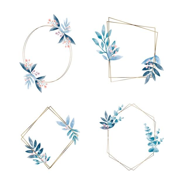 Set di cornice geometrica con foglie vettoriale Vettore gratuito