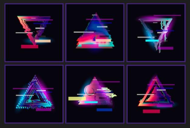 Set di cornici a triangolo con disegno glitched. Vettore Premium