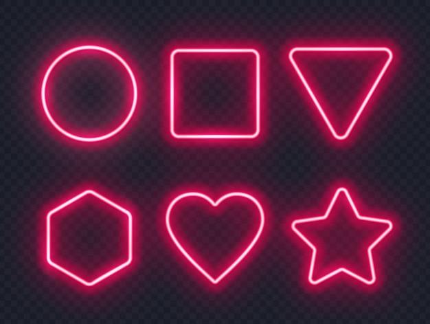 Set di cornici al neon luminosi rossi Vettore Premium