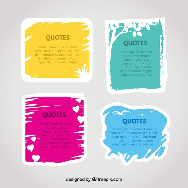 Set di cornici colorate per citazioni Vettore gratuito