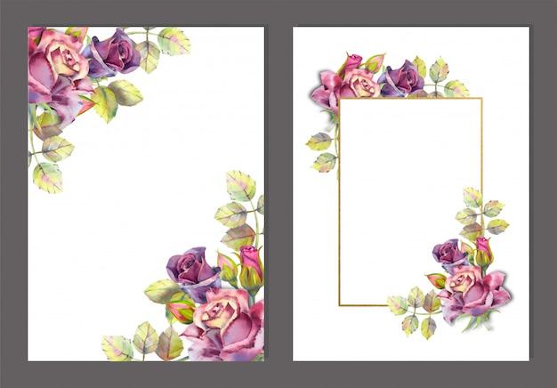 Set di cornici con fiori ad acquerelli. rose scure su bianco Vettore Premium