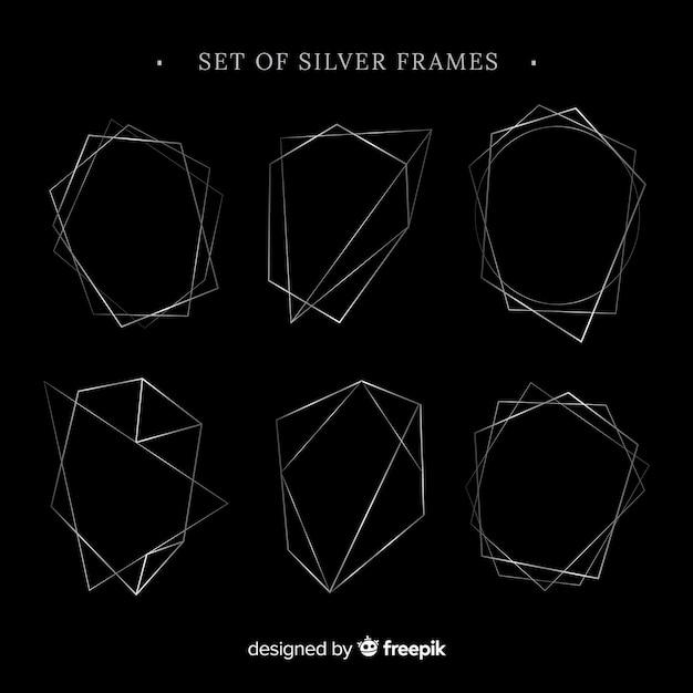 Set di cornici d'argento Vettore gratuito
