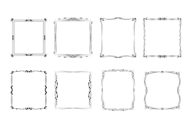 Set di cornici d'epoca ornamentali vuote Vettore gratuito