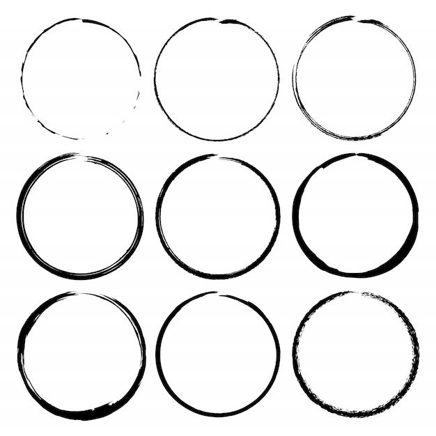 Set di cornici di inchiostro pennello cerchio grunge. set vettoriale Vettore Premium