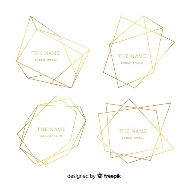 Set di cornici dorate Vettore gratuito