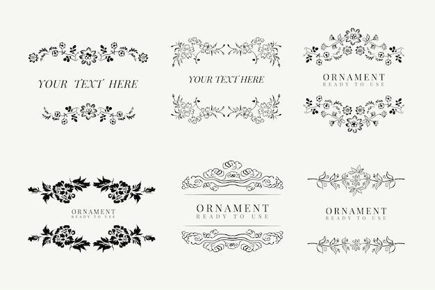 Set di cornici floreali classico Vettore gratuito