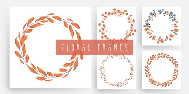 Set di cornici floreali e foglie ghirlanda Vettore Premium