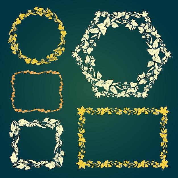 Set di cornici floreali vettoriale con foglie d'autunno Vettore Premium