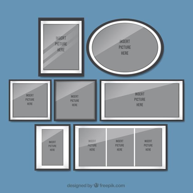 Set di cornici in design piatto scaricare vettori gratis for Costruttore di layout gratuito
