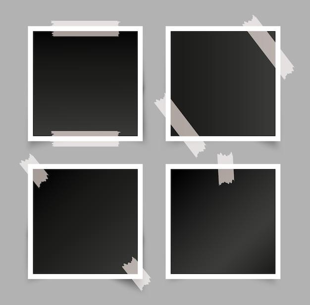 Set di cornici per foto realistiche Vettore Premium