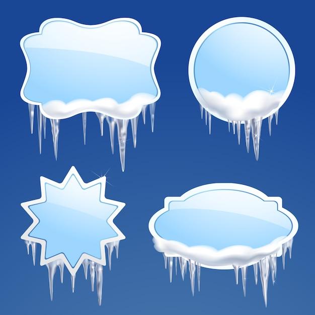 Set di cornici per icicle Vettore gratuito