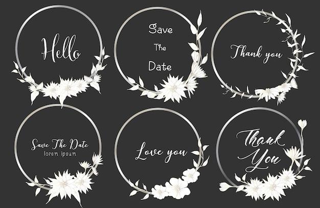 Set di cornici rotonde divisori, fiori disegnati a mano. Vettore Premium