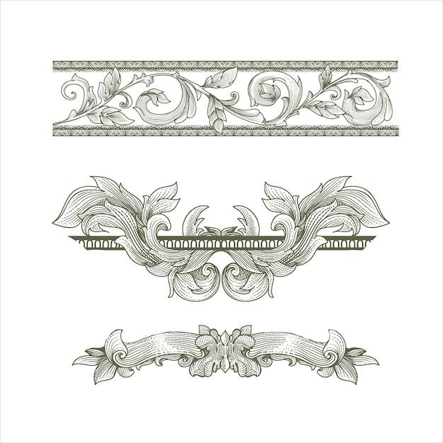 Set di cornici vittoriane barocche vintage Vettore Premium