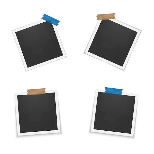 Set di cornici vuote con ombra. Vettore Premium