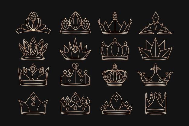 Set di corone reali Vettore gratuito