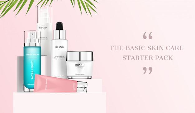 Set di cosmetici su supporto con foglie di cocco Vettore Premium