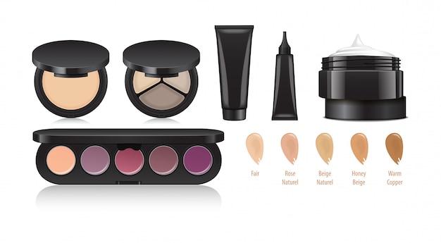 Set di cosmetici. trucco occhi, labbra, viso. ombretto, eyeliner, crema, cipria, correttore. prodotti. modelli universali per il branding e la pubblicità Vettore Premium