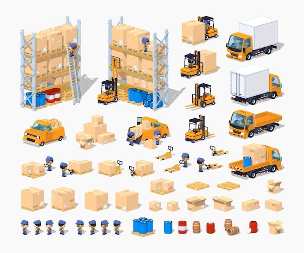 Set di costruzione di magazzino isometrico lowpoly 3d Vettore Premium