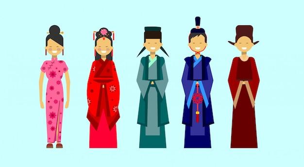 Set di costumi asiatici, persone etniche nel concetto di abbigliamento tradizionale Vettore Premium