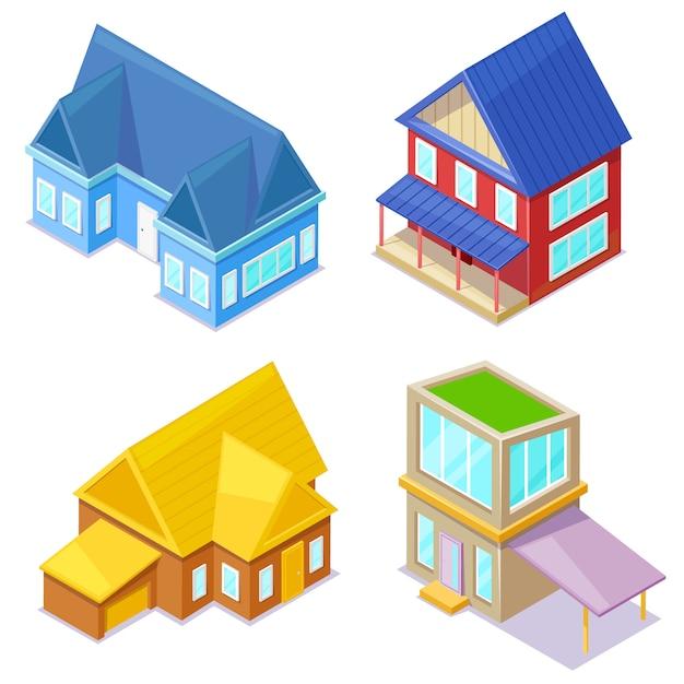 Set di cottage isometrici su bianco. Vettore Premium