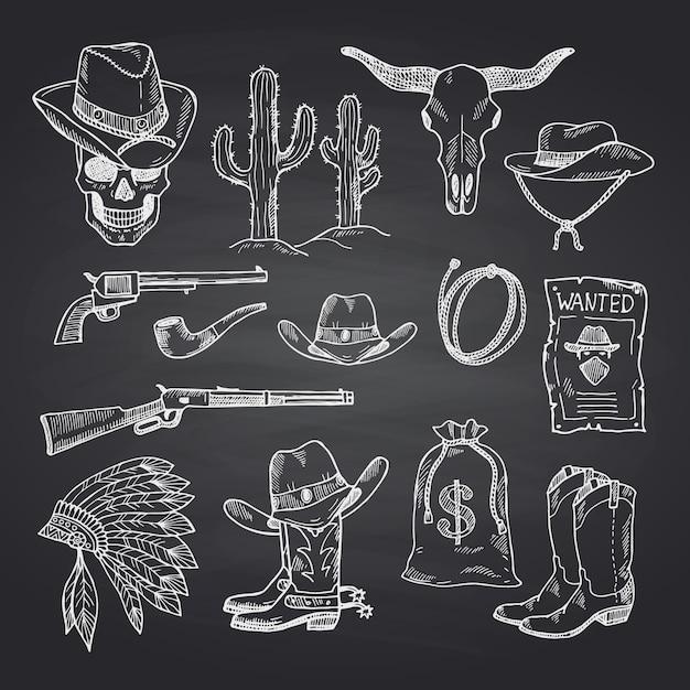 Set di cowboy selvaggio west disegnato a mano Vettore Premium
