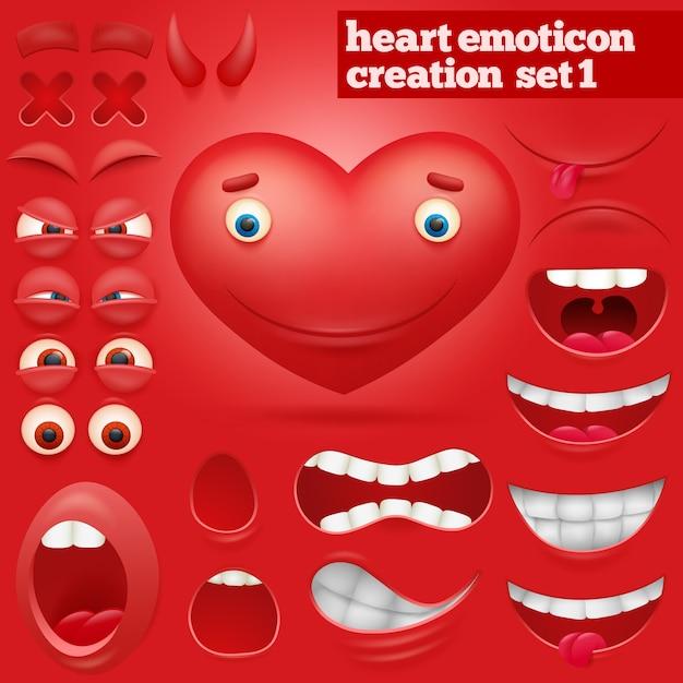 Set di creazione del personaggio di emoticon cuore del fumetto Vettore Premium
