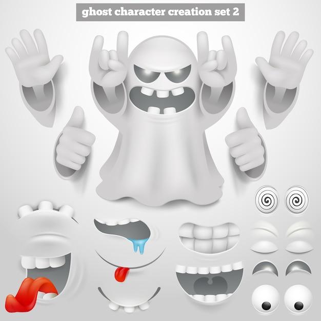 Set di creazione di halloween emoticon fantasma personaggio dei cartoni animati. Vettore Premium