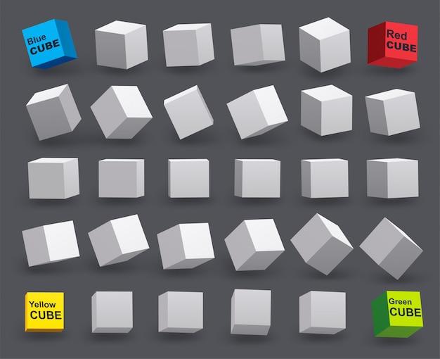 Set di cubi bianchi in vari angoli di inclinazione. modello 3d di forme geometriche. Vettore Premium
