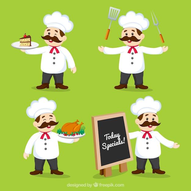 Set di cuoco sorridente in diverse posizioni Vettore gratuito