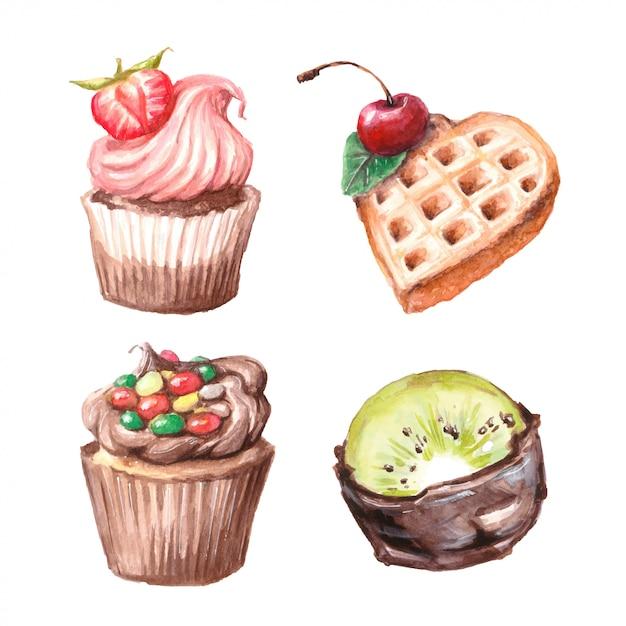 Set di cupcakes ad acquerello Vettore Premium